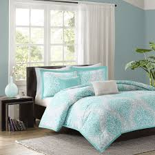 beautiful chic aqua teal light blue grey soft comforter set pillows full queen