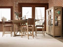 rectangle rustic small high top kitchen table sets and chairs with wooden frame plus brown leather