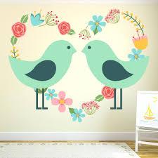 love birds wall decal love birds wall sticker floral heart wall decal  nursery girls love birds . love birds wall ...