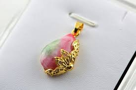 whole pink and green jade peach shape gold color plated crystal paved stone pendant fit diy fashion woamn jewelry long pendant necklace mens pendant