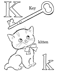 Small Picture K is for Key and Kitten Free Printable Coloring Page Good