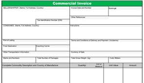 Blank Commercial Invoice Template Excel