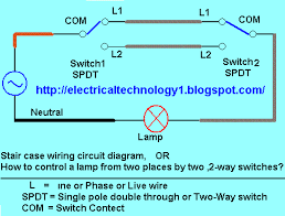 electrical technology stair case wiring wiring diagram or how to stair case wiring wiring diagram or how to control a lamp from two different places by two 2 way switches