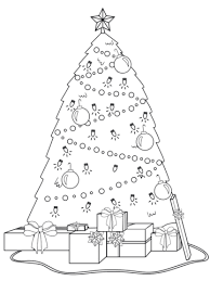 christmas tree with presents drawing. Delighful Christmas Decorated Christmas Tree With Presents Under It Coloring Page For With Drawing S