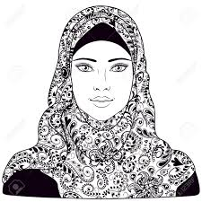 Muslim Girl Dressed In Hijab Black And White Contoured Image