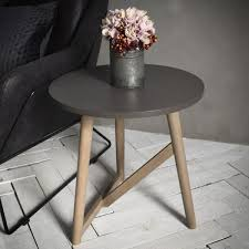 cult living delilah round wooden side table faux concrete