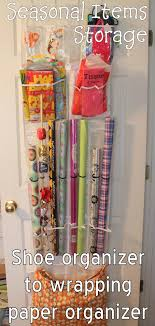 You can take a plain over-the-door shoe organizer and make a wrapping paper  organizer in just a few minutes. Ready to make your own?