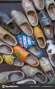 decorated dutch wooden shoes in zaanse schans netherlands stock editorial photography