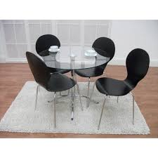 4 pieces rounded glass top dining table set