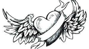 Coloring Pages Of Hearts With Wings Angel Wings Coloring Pages Heart