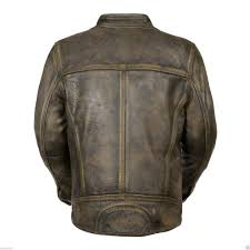 men s brown distressed motorcycle real sheepskin leather cafe racer jacket back