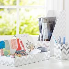 printed paper desk accessories set metallic silver foil chevron pbteen
