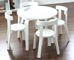 image of stylish childrens wooden table and chairs