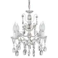 4 light shabby chic crystal plug in chandelier white