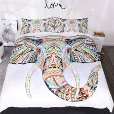 3pcs animal white bedding sets elephant print 3d luxury bed cover duvet cover comforter queen twin