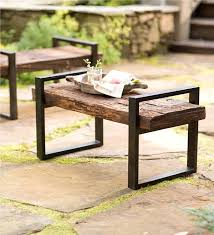 wood and iron furniture. Reclaimed Wood And Iron Outdoor Bench Benches Chairs Regarding Furniture Plans 2 U