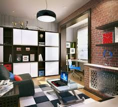 white teenage boy bedroom with exposed brick walland cabinet and black pendant lamp stylish cheap awesome black white wood modern design amazing