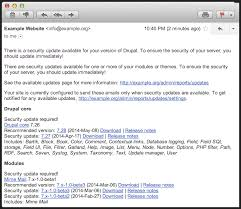 Update Status Detailed Email Drupal Org