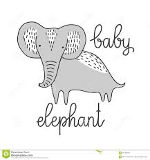 Baby Elephant Template Stylized Cute Baby Elephant Isolated Vector Illustration Nice