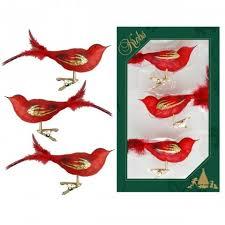 Vogel 3er Set Rot Transparent 11cm Glas