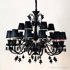 black crystal chandelier european style living room candle chandelier bar chamber restaurant bedroom hotel engineering lamp pendant light black crystal
