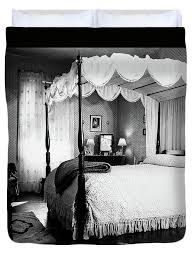1940s Bedroom With Canopy Bed & Duvet Cover for Sale by Vintage Images