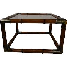 square vintage coffee table in wood