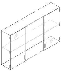 countertop case 36 wide x 8 deep with 2 compartments 11 high each with 2 doors