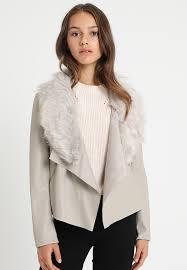 dorothy perkins petite neutral collar waterfall faux leather jacket cream zalando ie