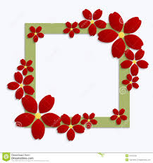Paper With Flower Border Decorative Green Papercut Border With Red Paper Flowers 3d