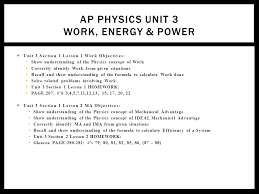 ap physics unit work energy power  unit section lesson  1 ap