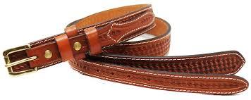 mens western basket weave tooled leather ranger belt