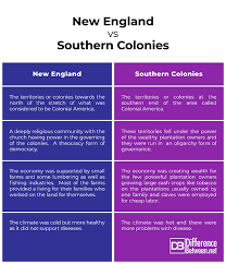 New England Middle And Southern Colonies Comparison Chart Difference Between New England Colonies And Southern
