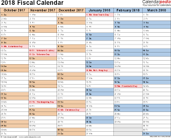 excel 2018 yearly calendar fiscal calendars 2018 as free printable excel templates