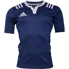 adidas mens 3 stripe fitted rugby jersey dark blue white