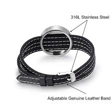 home fragrance essential oil diffuser lockets stainless steel and genuine leather bracelet adjustable