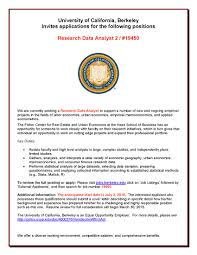 Data Analyst Duties Research Data Analyst Position Available At Uc Berkeley