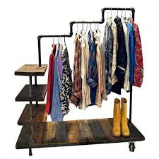 wood and steel triple level garment rack