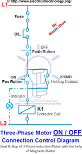 on off 3 phase motor connection control diagram electrical on off 3 phase motor connection control diagram