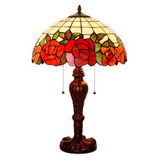 fumat tiffany style stained glass table lamp romantic rose love design 237 pcs glass