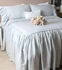 ruffled linen shabby chic duvet cover the mirabelle linen duvet cover in french blue 390 00