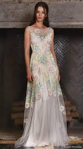 art nouveau wedding dress. claire pettibone fall 2017 bridal sleeveless bateau neckline colored floral embroidered full embellishment elegant vintage art nouveau wedding dress g