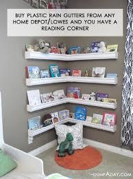 diy rain gutter bookshelves reading nook