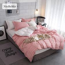niobomo pink and white bedding set simple stripes duvet cover set twin full queen king size active printing bedclothes comforter sets queen white