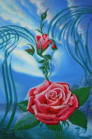 painting picture i love you the rose kiss