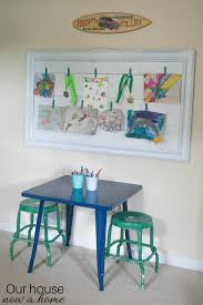 i love how it all came together making my kids bedrooms have their work as the focal point i spent one afternoon a few supplies and this will give my