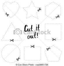 Dotted Line Template Cut It Out Flat Template The Scissors Icon Cut Here Symbol