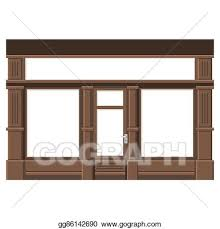 store window clipart. Contemporary Clipart Shopfront With White Blank Windows Wood Store Facade Vector For Window Clipart R