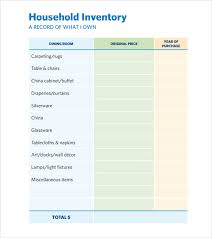 Sample Home Inventory Template Free Documents Download In Pdf