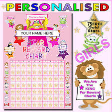 Gold Star Sticker Chart Details About Girls Personalised Pink Reward Chart Plus 75 Free Gold Star Stickers